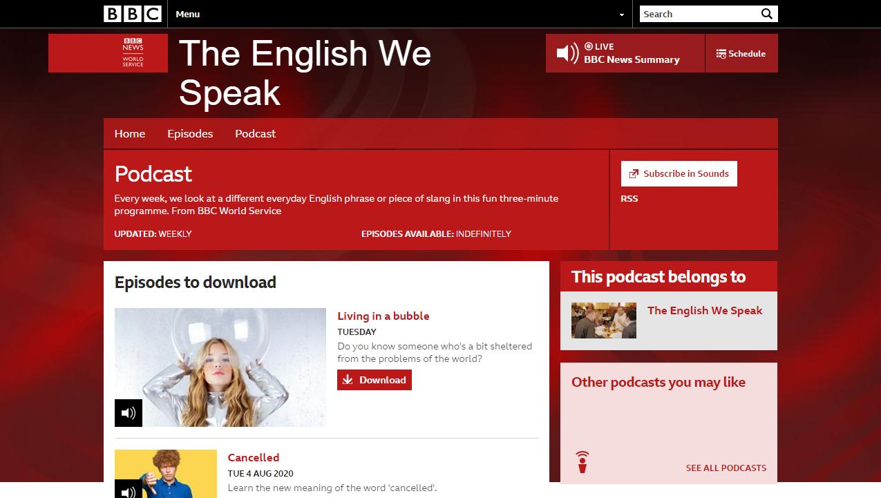 The English We Speak公式サイト画面