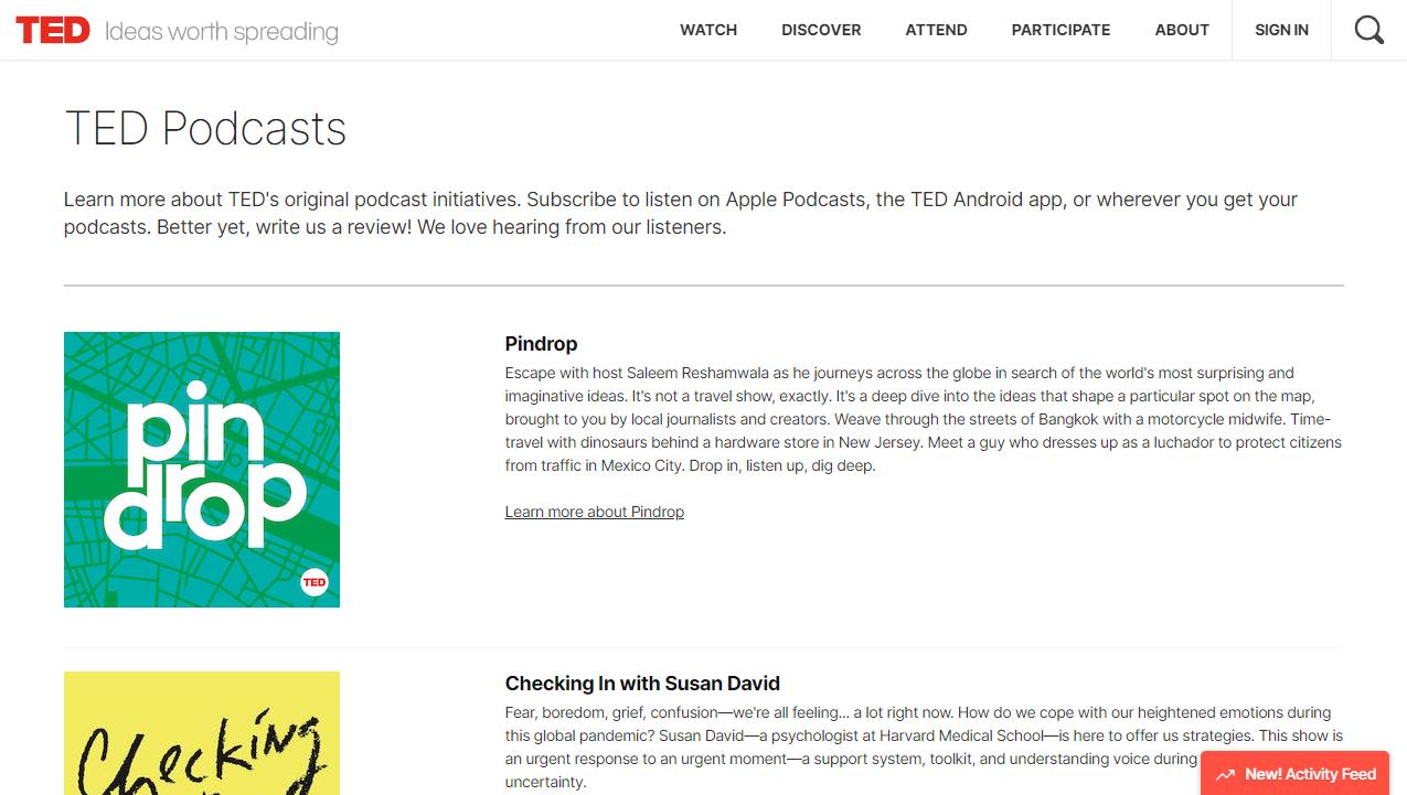 TED Talks Daily公式サイト画面