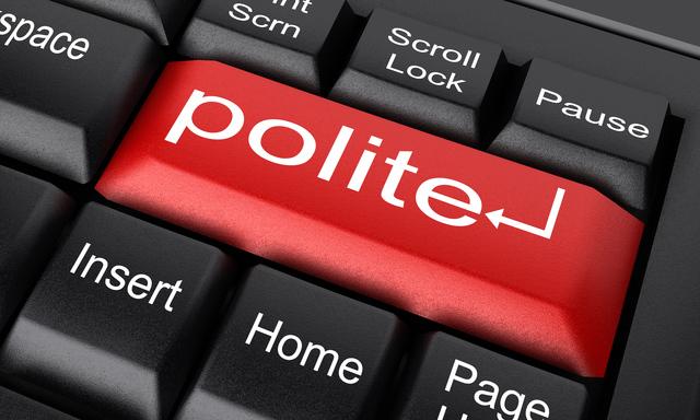 「Polite」と書かれた赤のキーボードのボタン